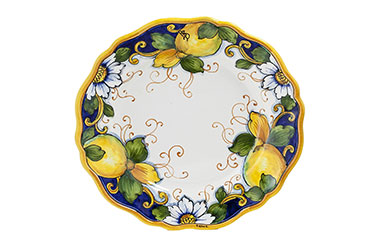 Round dinner plate, plate charger, pasta bowl, side plate and shot glass