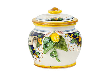 Tall round biscuit jar and cover