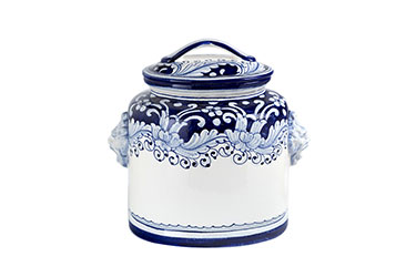 Tall oval biscuit jar and cover